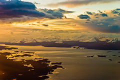 In the airplane sunset mood Royalty Free Stock Photography