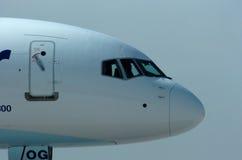 Airplane close up. Passenger aircraft at airport on the way to runway stock photos