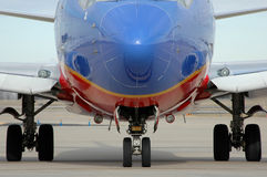 Airplane close up showing landing gear