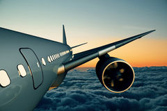 Airplane closeup. Close up of airplane in cloudy sky. Travel concept. 3D Rendering Royalty Free Stock Photos