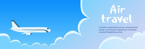 Airplane Cloud Blue Sky Banner Royalty Free Stock Photography