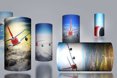 Airplane Cloud 3D Cylinder sky illustration background nature blue Sunrise transportation business people. 2017 Royalty Free Stock Photo