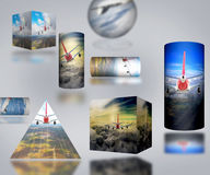 Airplane Cloud 3D Cylinder sky illustration background nature blue Sunrise transportation business people. 2017 Royalty Free Stock Image