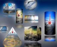 Airplane Cloud 3D Cylinder sky illustration background nature blue Sunrise transportation business people. 2017 Royalty Free Stock Photos