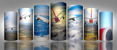 Airplane Cloud 3D Cylinder sky illustration background nature blue Sunrise transportation business people. 2017 Royalty Free Stock Photography