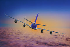 Airplane Cloud travel sky aviation air speed plane background blue. 2017 stock photo