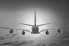 Airplane Cloud travel sky aviation air speed plane background blue Stock Photos