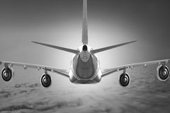 Airplane Cloud travel sky aviation air speed plane background blue Royalty Free Stock Images