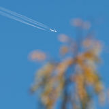 Airplane in the cloudless sky leaving a trail Stock Photo