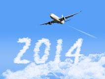 2014 with airplane Royalty Free Stock Images