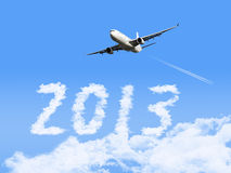 2013 with airplane Royalty Free Stock Photo