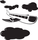Airplane clouds. In black and white background illustration with fin Royalty Free Stock Images