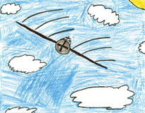 Airplane in clouds child drawing Stock Photos