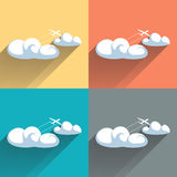 Airplane in clouds. Color flat vector illustration. Stock Image