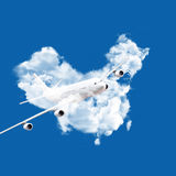 Airplane and clouds map. Airplane in chinese clouds map Royalty Free Stock Photography