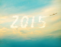 2015 with airplane. Stock Image