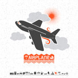 Airplane in the clouds and travel icons Royalty Free Stock Images
