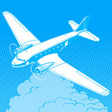 Airplane in the clouds vintage retro travel Royalty Free Stock Photography