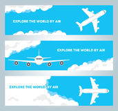 Airplane in cloudy sky vector banners Stock Image
