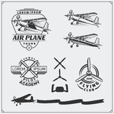 Airplane Club labels, emblems, badges and design elements. Vintage style. Airplane Club labels, emblems, badges and design elements. Vector monochrome Royalty Free Stock Photography