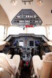 Airplane cockpit. Jet engine airplane cockpit controls Stock Photography