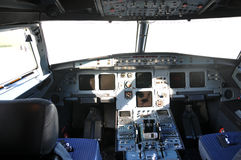Airplane cockpit. In Istanbul airlines Royalty Free Stock Photography