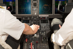 Airplane cockpit accelerate  close up Royalty Free Stock Image