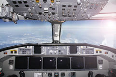 Airplane cockpit-the best office. View from an airplane cockpit in flight Stock Image