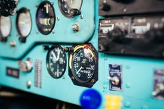 Airplane cockpit closeup picture Stock Images