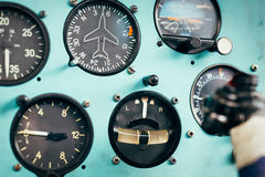 Airplane cockpit closeup picture Royalty Free Stock Photography