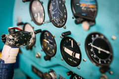 Airplane cockpit closeup picture Stock Photos