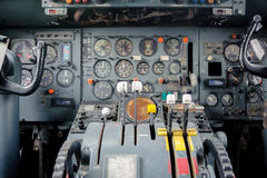 Airplane Cockpit Equipment with indicators, buttons, and instruments. Royalty Free Stock Photography