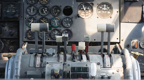 Airplane Cockpit Equipment with indicators, buttons, and instruments. Stock Photos