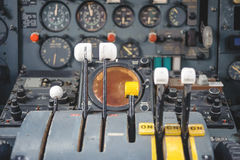 Airplane Cockpit Equipment with indicators, buttons, and instruments. Royalty Free Stock Images