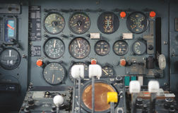 Airplane Cockpit Equipment with indicators, buttons, and instruments. Royalty Free Stock Photo