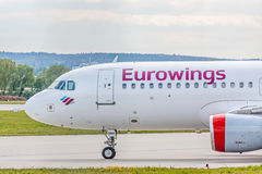 Airplane cockpit, Eurowings Airline before take off, airport Stuttgart, Germany Royalty Free Stock Image