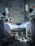 Airplane cockpit fisheye view during day time Royalty Free Stock Photos