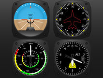 Airplane Cockpit Flight Instruments Stock Photography