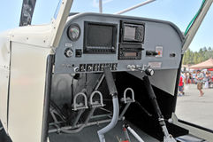 Airplane cockpit. This is the cockpit of the home built STOL airplane that is designed to fly in bush country and land on short, dirt runways or in a field where Royalty Free Stock Images