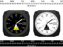 Airplane cockpit instrument clock Royalty Free Stock Photo