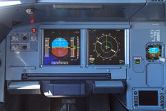 Airplane cockpit screens Stock Images