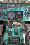 Airplane Cockpit. Thrust levers with hand on top for takeoff, Tu-144 Stock Images