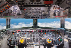 Airplane cockpit view. Stock Images