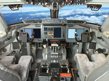 Airplane cockpit view Royalty Free Stock Photo