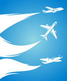 Airplane collection and blue background. Vector. Illustration Royalty Free Stock Photography