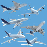 Airplane collection set isolated. Collection of several views of airplane airbus a 380 isolated on solid color and with clipping path Royalty Free Stock Image