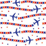 Airplane with colorful flags seamless pattern Royalty Free Stock Photos
