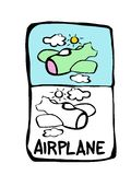 Airplane coloring book. Printable coloring page for children or can be used as clip art Stock Photos