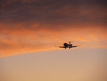 Airplane coming in for landing Royalty Free Stock Photo