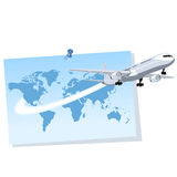 Airplane coming out of a world map Stock Photo